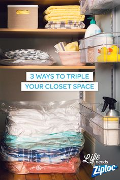 Smart organization tips that will save tons of space in your linen closets.  Use Ziploc® Space Bag® products for bulky quilts, sheet sets, and blankets. They'll be easy to move around (and they won't get dusty). Great pin to save for spring cleaning ideas.