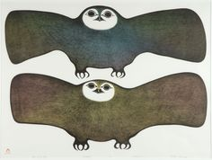 "Inuit Print ""Owls of the Night"" by Pitaloosie Saila"