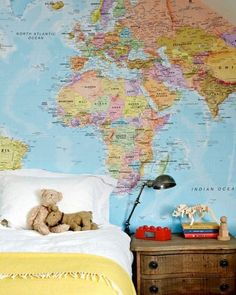 Boys' bedroom with map wallpaper. Photo - Sean Fennessy, production – Lucy Feagins / The Design Files. Little Boy Bedroom Ideas, Little Boys Rooms, Kids Bedroom, Bedroom Decor, Kids Rooms, 1980s Bedroom, Ladies Bedroom, Melbourne House, Decor Pillows