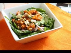 This Sweet Potato Feta Spinach Salad is a lovely meal in itself or great as a side dish. The sweetness of the potatoes compliment the saltiness of the feta, . Potato Salad With Egg, Easy Potato Salad, Salad Recipes Video, Salad Recipes For Dinner, Most Nutritious Foods, Healthy Foods To Eat, Super Healthy Recipes, Healthy Salad Recipes, Sin Gluten