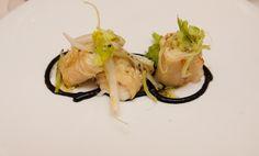 Raviolis de cebolla caramelizada, bacalao y cerveza negra