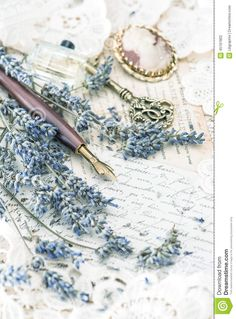 Vintage Ink Pen, Key, Perfume, Lavender Flowers And Old Love Let Stock Photo - Image: 45197802