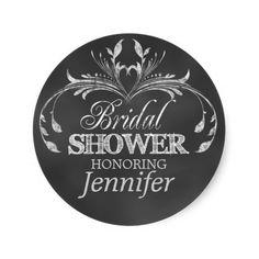 Modern Bridal Shower Favor Stickers | Chalkboard