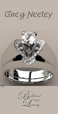 "Brilliant Luxury ♦ Greg Neeley ""V"" Top Princess Engagement Set"