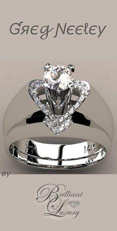 "Brilliant Luxury * Greg Neeley ""V"" Top Princess Engagement Set"