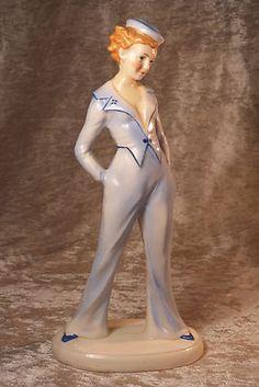 Vintage Art Deco Porcelain Lady Figurine in Sailor Costume Probably Royal Dux | eBay