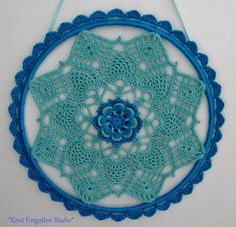 Aqua & Blue Window/Wall Hanging~ Finished August, 2015.  https://www.pinterest.com/KnotForgottenSt/knot-forgotten-studio/
