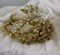 French Victorian Wax Flower Bridal Crown Headpiece c.1890 Antique Wedding Orange Blossom Tiara
