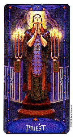 The Priest (The Hierophant) - Art Nouveau Tarot -  If you love Tarot, visit me at www.WhiteRabbitTarot.com