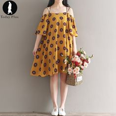 2017 NEW Summer Fashion Women Dresses Beach Loose Sexy Slash Neck Spaghetti Strap Floral Printing Yellow Casual Party Dress #Affiliate