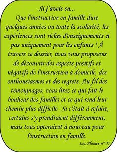 """Dossier """"Si j'avais su..."""", instruction en famille - Les Plumes n° 37"""