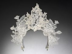 vintage wedding dresses to go on display at the V&A An antique lace tiara by Philip Treacy for Nina Farnell-Watson's 2008 wedding to Edward Tryon.An antique lace tiara by Philip Treacy for Nina Farnell-Watson's 2008 wedding to Edward Tryon. Philip Treacy, Royal Jewels, Crown Jewels, Vintage Weddingdress, Circlet, Snow Queen, Victoria And Albert Museum, Antique Lace, Tiaras And Crowns