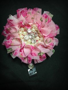 Hey, I found this really awesome Etsy listing at https://www.etsy.com/listing/225149446/pink-floral-chiffon-flower-badge-reel