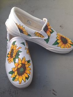 Custom painted sunflower vans 2