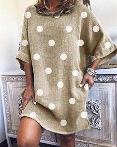 Half Sleeves, Types Of Sleeves, Polka Dot Print, Polka Dots, Short Sleeve Dresses, Tunic Dresses, Dresses Dresses, Summer Dresses, Dresses Online