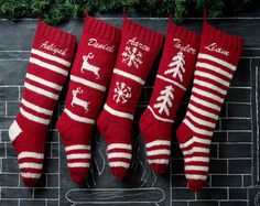 Knit Christmas Stockings Red White Renindeer or by eugenie2