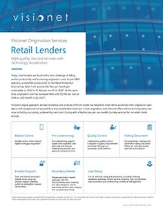 Visionet's digital approach, domain knowhow and onshore-offshore model has helped its retail clients accelerate their origination operations with exceptional turnaround time and considerable reduction in loan origination cost.