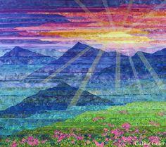 Carpathian Mountain Sunset, 46 x 41, 2015 by Cathy Geier.