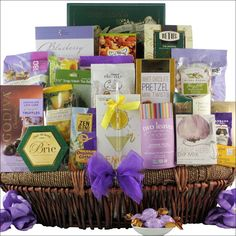 """Mother's Day Extravagant Spa Gourmet Gift Basket Doesn't she deserve something """"Simply Extravagant"""" for Mother's Day? Including Two Leaves and a Bud Organic Jasmine Petal Whole Leaf Loose Green Tea an"""