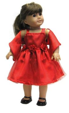 """Red Satin Dress & Scarf made for 18"""" American Girl Doll Clothes #DorisDollBoutique #DollClothes"""