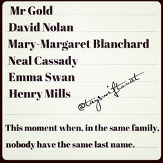 Ouat Family names - So true. Ouat, Once Upon A Time Funny, Once Up A Time, Best Tv Shows, Best Shows Ever, Snow And Charming, Haha So True, Between Two Worlds, Evil Queens