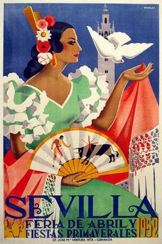 Sevilla Festival Poster 1952Feria de Abril, Fiestas Primaverales 1952Vintage 1952 advertising poster announcing the annual Seville April Fair which is held in the Andalusian capital in Spain every year.The Final Touch to Your DecorOur posters create a highly decorative visual getaway in your home decor. Hang Sevilla Festival 1952 Poster and create a new window onto your favourite places and the most precious moments of your life.Poster Specifications:The frame is not included in the prices… A4 Poster, Poster Prints, Art Prints, Poster Wall, Life Poster, Travel Wall Decor, Wal Art, Tourism Poster, Wall Decor Stickers