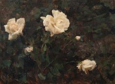 Michael Klein, White Roses, oil on panel, 12 X 16 in.