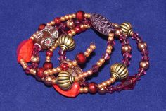 'Golden Flame' Memory wire bracelet
