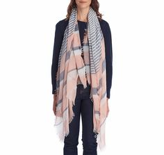 The perfect finishing touch for any summer outfit, this scarf is crafted from a lightweight fabric which features soft stripes in pink and blue, a fringed hem edge and a subtle woven label to the side to complete the look.