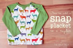 Snap Placket for Raglan Tutorial (add KAM Snaps to T-Shirt) - KAM Snap Supplies available at ILikeBigButtons.com