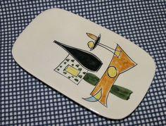 "Vtg 60s-70s Italian hand-painted nibbles dish 7⅜"" 18.5 cm modernist"