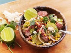 Raw tomatillos never tasted so good than in this steak and corn salad with ancho vinaigrette #recipe