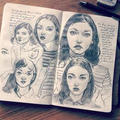 """Pencil facial studies"" Looking for matching faces for characters in my upcoming…"