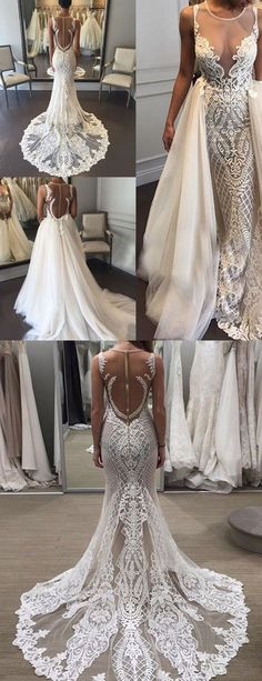 Prom Dresses Elegant, Fabulous Jewel Sleeveless Sheath Lace Wedding Dress with Detachable Train Illusion Back, Mermaid prom dresses, two piece prom gowns, sequin prom dresses & you name it - our 2020 prom collection has everything you need! Bohemian Wedding Dresses, Modest Wedding Dresses, Wedding Dress Styles, Elegant Dresses, Wedding Gowns, Lace Wedding, Elegant Wedding, Mermaid Wedding, Wedding Colors