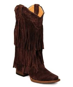 ddee8ea0e054 Mocha Three Layer Fringe Blunt Toe Leather Cowboy Boot - Women