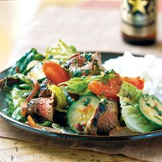 Thai Beef Salad...  Budget-friendly flank steak paired with traditional Thai flavors gives you a filling salad for dinner that's less than 300 calories.