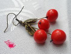 Fimo cherry earrings