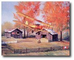 AVIATION ART HANGAR - Tiger in the Fall by Nixon Galloway (Tiger Moth)