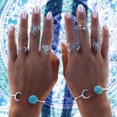 6pcs/set New Brand Maxi Bohemian Ring Set Vintage Elephant Moon Anillos Midi Ring Knuckle Rings for Women Jewelry Wholesale