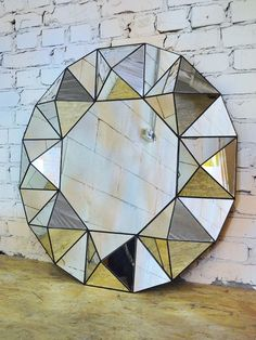 Pyramid Mirror Stained Glass Mirror, Stained Glass Designs, Glass Wall Art, Stained Glass Patterns, Mosaic Glass, Vitromosaico Ideas, Bar Deco, Silver Wall Clock, Mirror Crafts