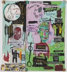 Jean-Michel Basquiat, In Italian (1983) l Acrylic and oil paintstick on canvas with wooden supports and five smaller canvases painted with ink marker, 88 1/2 × 80 in l Gagosian Gallery, work not for sale