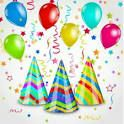 Holiday background with party hats, colorful balloons, confetti. Illustration holiday background with party hats, colorful balloons, confetti . Birthday Flags, Confetti Photos, Frame Border Design, Celebration Background, Party Background, Happy Birthday Wishes Cards, Sprinkle Party, Colourful Balloons, Christmas Banners