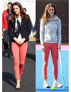 Kate wore these colourful coral skinny jeans when she went to meet team Great Britain's hockey players a the Olympic park, located in London. #whatkatewore
