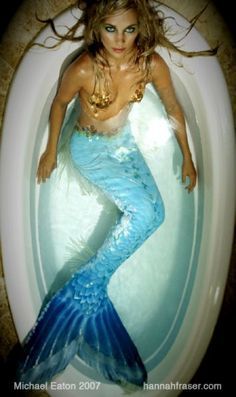 Gorgeous photo of Hannah Fraser in full mermaid costume in a bathtub  |For more mermaid love, click here--> https://www.pinterest.com/thevioletvixen/wish-you-were-a-mermaid/