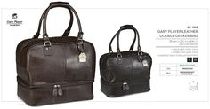 Gary Player Leather Double Decker Bag Code: genuine leather / 39 ( w ) x 24 ( d ) x 34 ( h ) black with silver trims / brown with gold trims Best Branding offer Free Laser Engraving Branding. Notebook Bag, Golf Gifts, Golf Accessories, Branded Bags, Corporate Gifts, Laser Engraving, Branding, Backpacks, Drawstring Bags