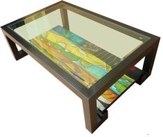 Hand-Painted Lacquer Coffee Table with Glass Top