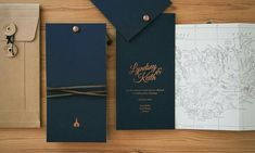 Copper Foil and Letterpress destination Wedding stationery. Map book Invitations by The Hunter Press.