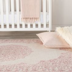 Fontanne Persian Inspired Pink / White Area Rug – Newest Rug Collections Blush Nursery, White Nursery, Girl Nursery Rugs, Rustic Nursery, Floral Nursery, Vintage Nursery, Pink Gold Nursery, Nursery Area Rug, Nursery Curtains
