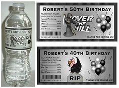20 Over The Hill 40th 50th 60th Birthday Party Favors Water Bottle Labels | eBay