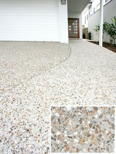 Light colored exposed aggregate with darker grey/taupe pebbles Pebble Driveway, Driveway Paving, Stone Driveway, Driveway Design, Driveway Landscaping, Diy Driveway, Driveway Ideas, Concrete Path, Concrete Driveways
